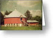 Wooden Fence Greeting Cards - The Round Barn Greeting Card by Joel Witmeyer