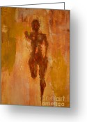 Jogging Greeting Cards - The Runner- lifes journey  Greeting Card by Vincent Avila
