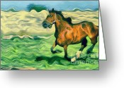 Gold Lame Painting Greeting Cards - The running horse Greeting Card by Odon Czintos