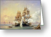 21st Greeting Cards - The Russian Cutter Mercury captures the Swedish frigate Venus on 21st May 1789 Greeting Card by Aleksei Petrovich Bogolyubov