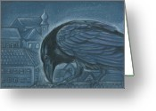 Raven Drawings Greeting Cards - The Russian Raven Greeting Card by Linda Kemp
