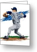 Major League Baseball Greeting Cards - The Ryan Express Greeting Card by David E Wilkinson