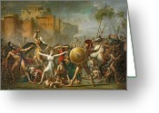 Fighting Painting Greeting Cards - The Sabine Women Greeting Card by Jacques Louis David