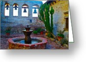Sacred Photo Greeting Cards - The Sacred Garden of Mission San Juan Capistrano California Greeting Card by Karon Melillo DeVega