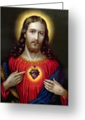 Iconography Painting Greeting Cards - The Sacred Heart of Jesus Greeting Card by English School