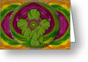 Tibetan Buddhism Greeting Cards - The Sacred Mandala Greeting Card by Pepita Selles