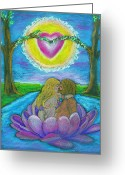 Spiritual Art Pastels Greeting Cards - The Sacred Marriage Greeting Card by Diana Haronis