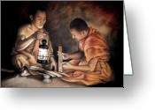 Buddha Pastels Greeting Cards - The Sacred Scriptures Greeting Card by Vongduane Manivong