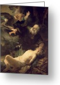 Sacrificial Greeting Cards - The Sacrifice of Abraham Greeting Card by Rembrandt