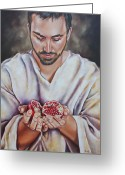Jesus Painting Greeting Cards - The sacrifice of Jesus Greeting Card by Ilse Kleyn