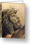Wood Pyrography Greeting Cards - The Sacrifice Greeting Card by Richard Jules