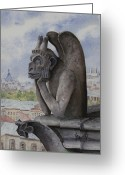 Gargoyle Greeting Cards - The Same Old Thing Greeting Card by Sam Sidders