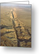 Desolate Landscapes Greeting Cards - The San Andreas Fault Slashes Greeting Card by James P. Blair
