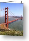 Steel Construction Greeting Cards - The San Francisco Golden Gate Bridge . 7D14504 Greeting Card by Wingsdomain Art and Photography