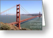 Towers Greeting Cards - The San Francisco Golden Gate Bridge . 7D14507 Greeting Card by Wingsdomain Art and Photography