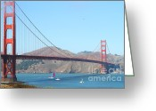 Ggbridge Greeting Cards - The San Francisco Golden Gate Bridge Greeting Card by Wingsdomain Art and Photography