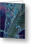 Embarcadero Greeting Cards - The San Francisco Oakland Bay Bridge Greeting Card by Wingsdomain Art and Photography
