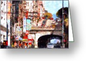 Tunnels Greeting Cards - The San Francisco Stockton Street Tunnel . 7D7355 Greeting Card by Wingsdomain Art and Photography