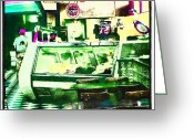 Droid Greeting Cards - The Sandwich Shop #abstract #android Greeting Card by Marianne Dow