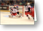 Hockey Action Greeting Cards - The Save Greeting Card by Karol  Livote