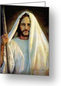 Jesus Art Painting Greeting Cards - The Savior Greeting Card by Greg Olsen