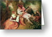 Playing The Guitar Greeting Cards - The Scale of Love Greeting Card by Jean Antoine Watteau