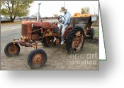 Scarecrow Greeting Cards - The Scarecrow Riding On The Old Farm Tractor . 7D10299 Greeting Card by Wingsdomain Art and Photography