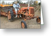 Scarecrow Greeting Cards - The Scarecrow Riding On The Old Farm Tractor . 7D10300 Greeting Card by Wingsdomain Art and Photography