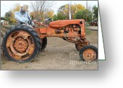 Scarecrow Greeting Cards - The Scarecrow Riding On The Old Farm Tractor . 7D10301 Greeting Card by Wingsdomain Art and Photography