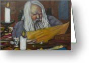 Crayon Painting Greeting Cards - The Scholar Greeting Card by Todd  Peterson