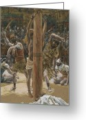Mob Greeting Cards - The Scourging on the Back Greeting Card by Tissot