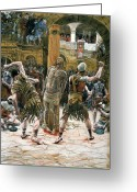 Soldiers Painting Greeting Cards - The Scourging Greeting Card by Tissot