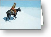 Remington Greeting Cards - The Scout Friends or Foes Greeting Card by Frederic Remington