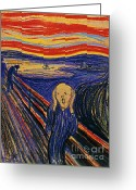 Scream Greeting Cards - The Scream by Edvard Munch  Greeting Card by Pg Reproductions
