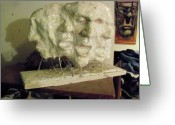 Baker Sculpture Greeting Cards - The Scream Greeting Card by John Baker