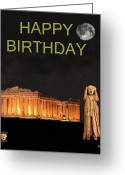 Greek Sculpture Greeting Cards - The Scream World Tour Athens Happy Birthday Greeting Card by Eric Kempson