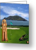 Professional Golfers Greeting Cards - The Scream World Tour Golf  Greeting Card by Eric Kempson