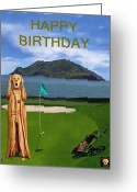 Backswing Greeting Cards - The Scream World Tour Golf  Happy Birthday Greeting Card by Eric Kempson