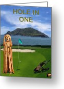 Professional Golfers Greeting Cards - The Scream World Tour Golf  Hole in one Greeting Card by Eric Kempson
