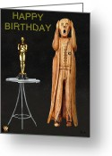  Biltmore Hotel Greeting Cards - The Scream World Tour Oscars Happy Birthday Greeting Card by Eric Kempson