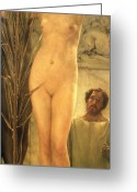 Nudes Greeting Cards - The Sculptors Model Greeting Card by Sir Lawrence Alma-Tadema