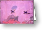Fall Photographs Painting Greeting Cards - The seagulls Greeting Card by Odon Czintos