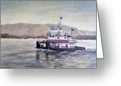 Mississippi River Scene Greeting Cards - The Season Begins  Greeting Card by Linda  Steine