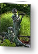 Conservatory Photo Greeting Cards - The Secret Garden Memorial Statue and Bird Bath Greeting Card by Robert Ullmann