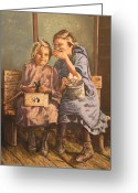 Schoolhouse Painting Greeting Cards - the Secret Greeting Card by Phil Hood