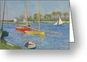 Argenteuil Greeting Cards - The Seine at Argenteuil Greeting Card by Gustave Caillebotte