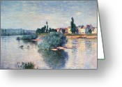 River Banks Greeting Cards - The Seine at Lavacourt Greeting Card by Claude Monet
