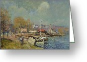 Signed Greeting Cards - The Seine at Port-Marly Greeting Card by Alfred Sisley