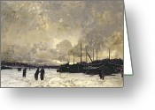 Luigi Greeting Cards - The Seine in December Greeting Card by Luigi Loir