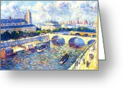 Quay Greeting Cards - The Seine Paris Greeting Card by Maximilien Luce